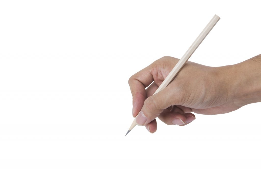 sharp pencil with hand